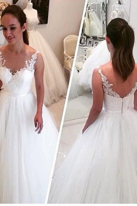 Lace Appliques Plunge V Sleeveless Floor Length Tulle Wedding Gown