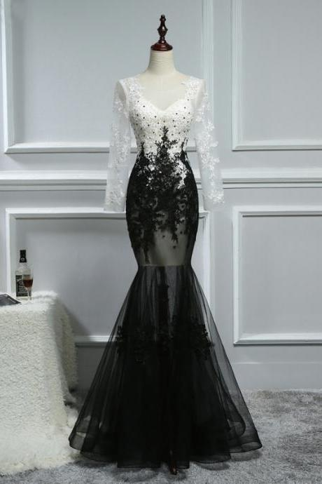 Black Long Sleeve Prom Dresses, Mermaid Party Prom Dresses