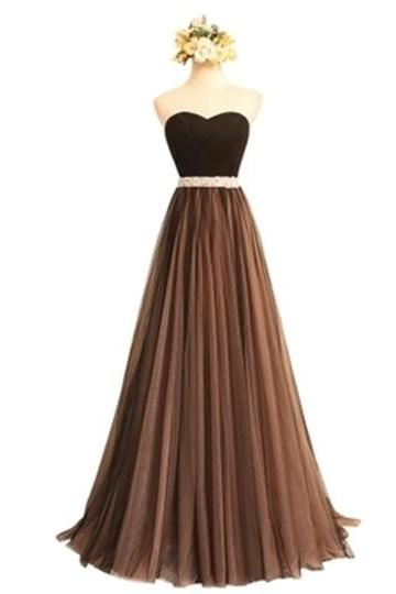Custom Made Brown Beaded Ruched Sweetheart Floor-Length Dress, Prom Dress, Formal Cocktail Dress, Bridesmaid Dresses , Weddings
