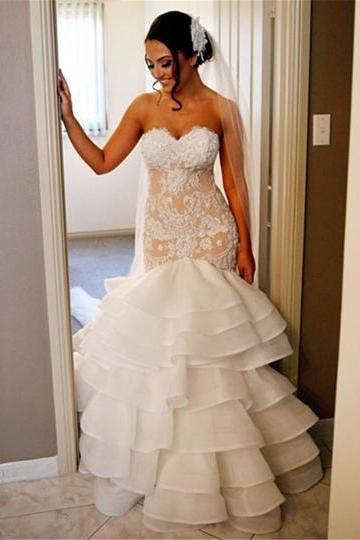 Champagne Strapless Sweetheart Lace Tiered Mermaid Wedding Dress