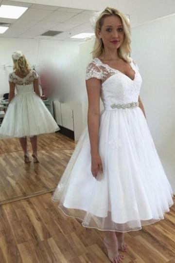 Short Sleeves Appliques Tea-Length Wedding Dress