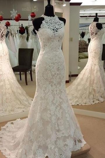 Mermaid Jewel Neck Appliques Sheath Wedding Dress