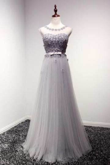 Gray Tulle Scoop Neck Flowers A-Line Long Bridesmaid Dress