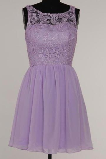 Custom Made Lavender Lace Illusion Neckline Short Chiffon Evening Dress, Bridesmaid Dress, Graduation Dress, Homecoming Dress, Cocktail Dresses