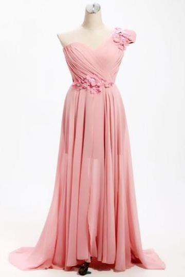 Pink One Shoulder Ruched Flowers Bridesmaid Dress