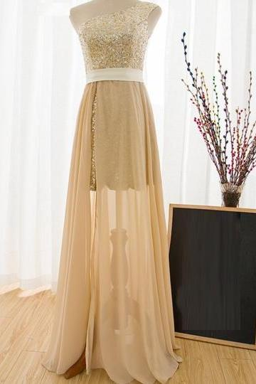 Sheath Sashes One-Shoulder Sequins Floor-Length Prom Dress