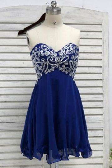 Blue Sweetheart Beaded Lace-Up Mini Homecoming Dress
