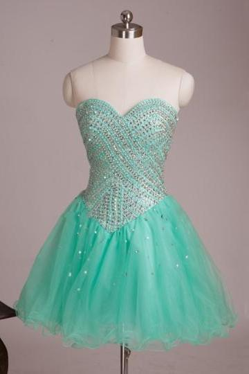 Mint Sweetheart Beaded Mini Homecoming Dress