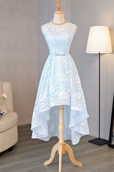 Beautiful Light Blue Lace High Low Party Dresses, Evening Gowns, Lace Blue Party Dresses