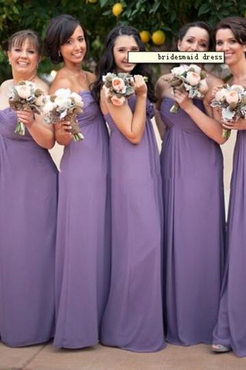 Customisable Purple Sweetheart Floor-Length A-Line Chiffon Bridesmaid Dress