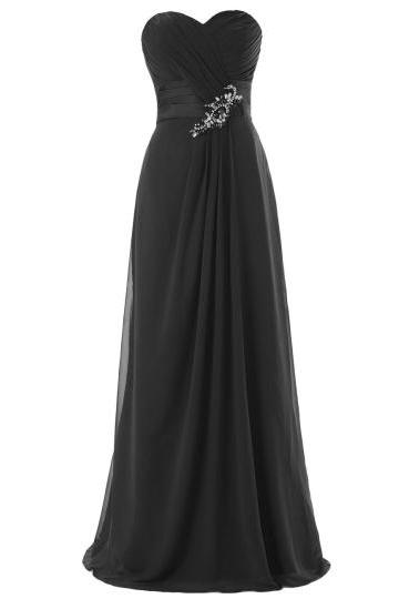 Elegant Sweetheart Ruched Beading A-Line Zipper-Up Bridesmaid Dress