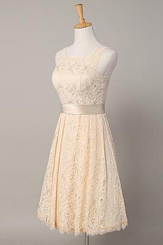 Custom Made White Sleeveless Lace Short A-Line Bridesmaid Dress with Sash