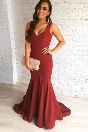 Burgundy Straps Trumpet Draped Sleeveless Sweep Train Evening Dress