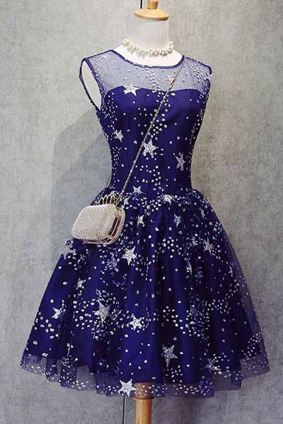 Sparkle Beaded Homecoming Dresses,Royal Blue Homecoming Dresses