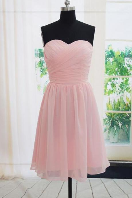Cheap Handmade Short Bridesmaid Dress,Cheap Simple Pink Bridesmaid Dresses, Pink Bridesmaid Dreses