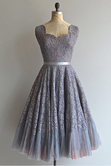 Gray Lace Princess Zipper Knee-length Bowknot Bridesmaid Dresses
