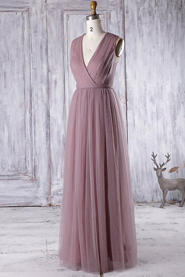 Chiffon and Tulle Long Sleeveless A-line Zipper Bridesmaid Dresses
