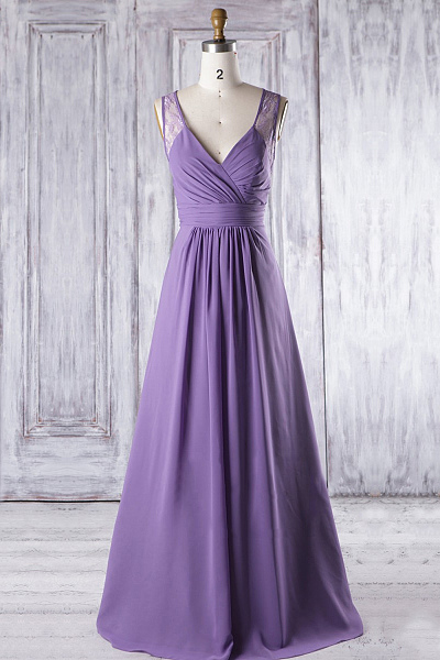 Cheap Purple V-neck Floor-length Sleeveless Bridesmaid Dresses