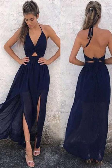 Backless Newest Side Slit Summer Beach Party Dress Dark Navy Halter A-Line Prom Dress