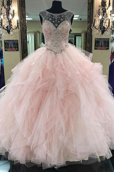 Ball Gown Pink Round Neck Tulle Beads Long Prom Gown, Pink Sweet 16 Dress