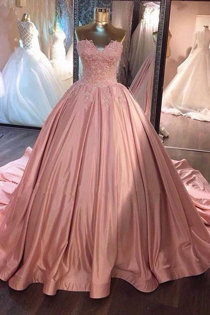 Unique Pink Sweetheart Lace Long Wedding Dress