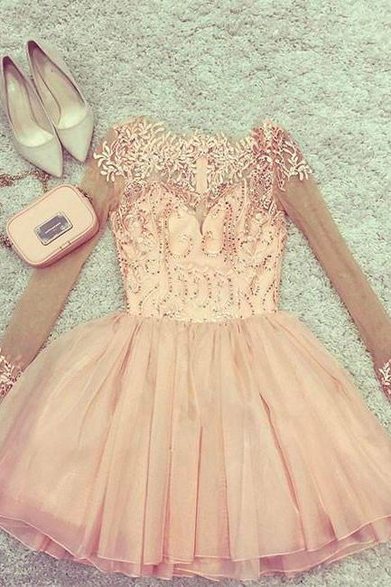 Long Sleeve Pink Tulle Short Pink Homecoming Prom Dress