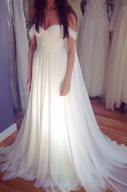 White Off Shoulder Chiffon Long Prom Dress, White wedding Dress