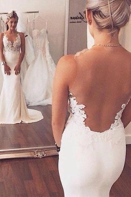 White Lace Mermaid Backless Long Prom Dress, White Lace Wedding Dress