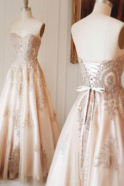 Champagne Sweetheart Lace Applique Long Prom Dress, Champagne Evening