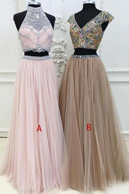 Unique Two Pieces Tulle Long Prom Dress, Unique Evening Dress