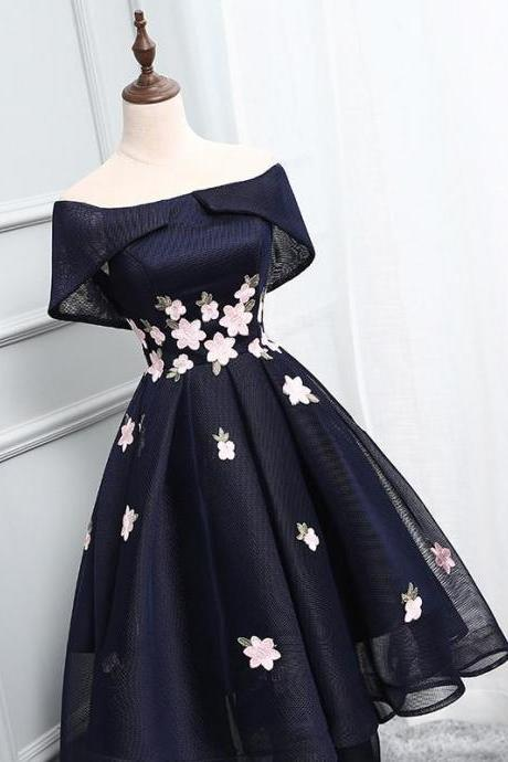 Off Shoulder Homecoming Dresses,Navy Homecoming Dresses