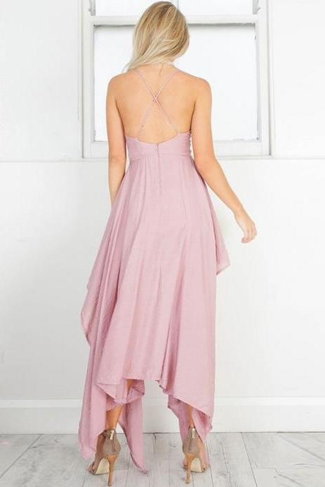 Spaghetti Straps Asymmetrical Blush Polyester Homecoming Dress