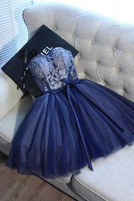 Blue Sweetheart Tulle Lace Short Prom Homecoming Dress