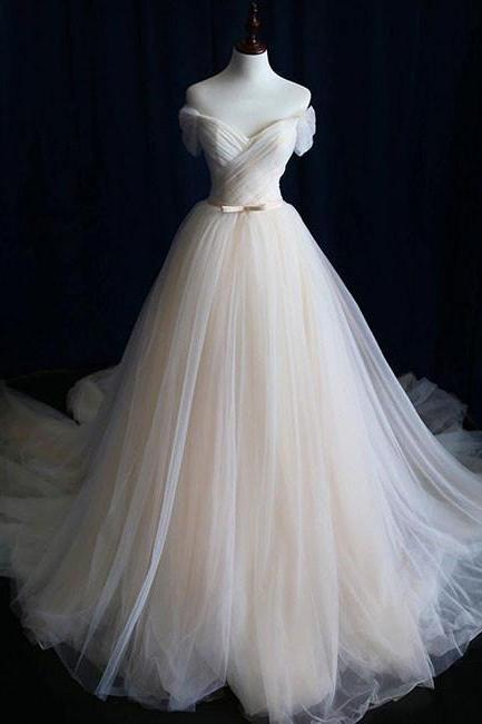 Simple Light Champagne Off the Shoulder Tulle Wedding Dress