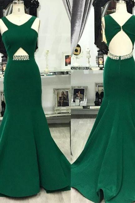 Green V Neck Mermaid Long Prom Evening Dress For Teens