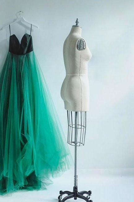 Simple Green Tulle Long Prom Dress
