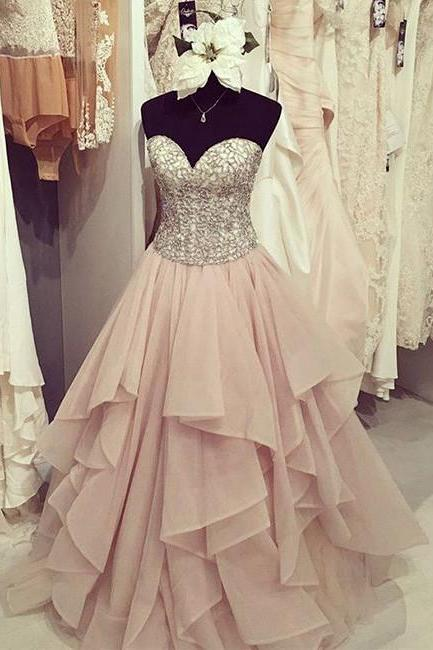 Sweetheart Neck Sequin Chiffon Long Prom Dress