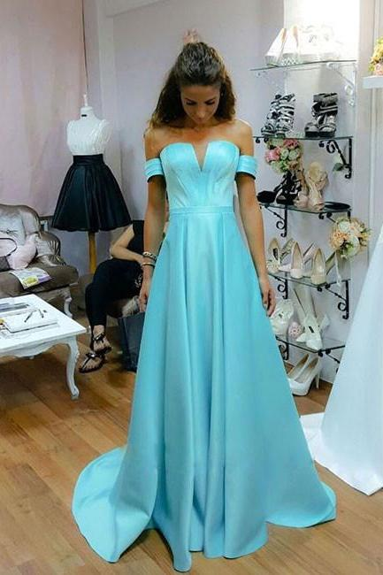 Custom Made Blue Off-Shoulder Satin V-Neck Evening Dress, Bridesmaid Dress, Graduation Dress, Prom Dress, Cocktail Dresses