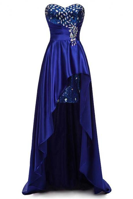 Custom Made Royal Blue Sweetheart Neckline Sequin and Diamond Embellished High Low Dress, Prom Dress, Formal Cocktail Dress, Bridesmaid Dresses , Weddings