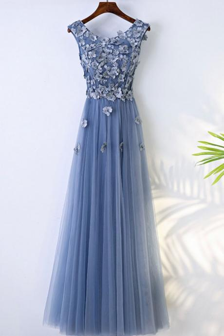 Blue Round Neck Tulle Lace Applique Long Prom Dress