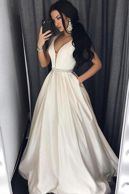 White Sexy Deep V-Neck Ivory Long Prom Dress with Pockets,Formal Evening Dress
