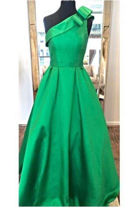 Green long Prom Dress One Shoulder Satin Simple Evening Dress