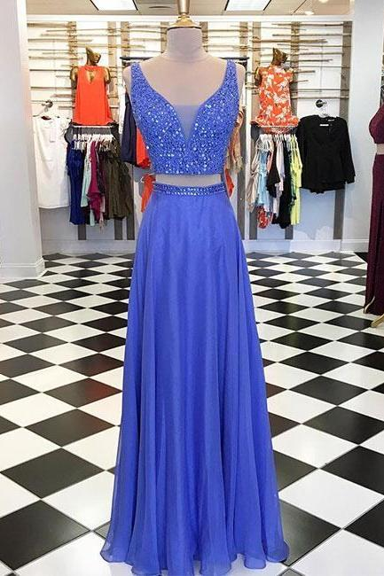 Blue Two Pieces Beads Long Prom Dress