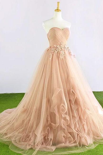 Champagne Sweetheart Neck Tulle Long Prom Dress