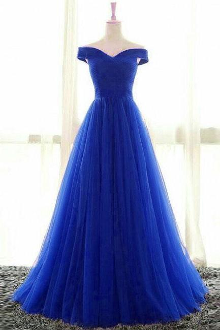 Simple Sweetheart Tulle Blue Long Prom Dress