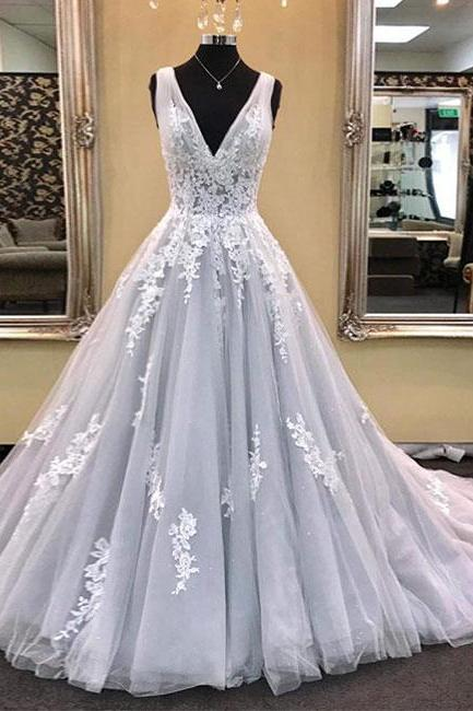 Gray V Neck Tulle Lace Applique Long Prom Dress