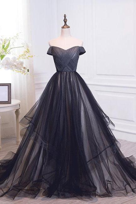 Simple Black Sweetheart Tulle Long Prom Dress