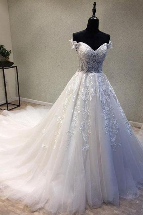 White Sweetheart Tulle Lace Applique Long Prom Dress