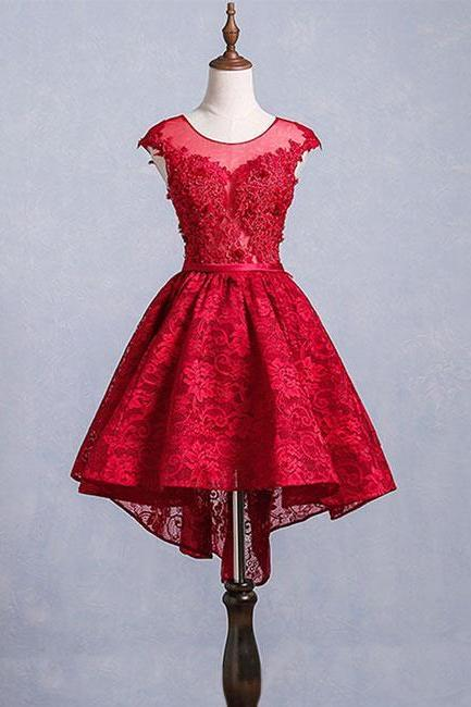 Cute Burgundy Lace Short Prom Dress