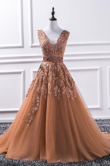 Champagne V Neck Tulle Lace Applique Long Prom Dress